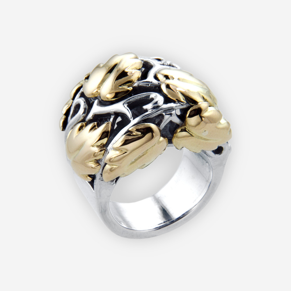 Sterling Silver Reticulated Ring with Grape Vine Leaves in 14k gold.
