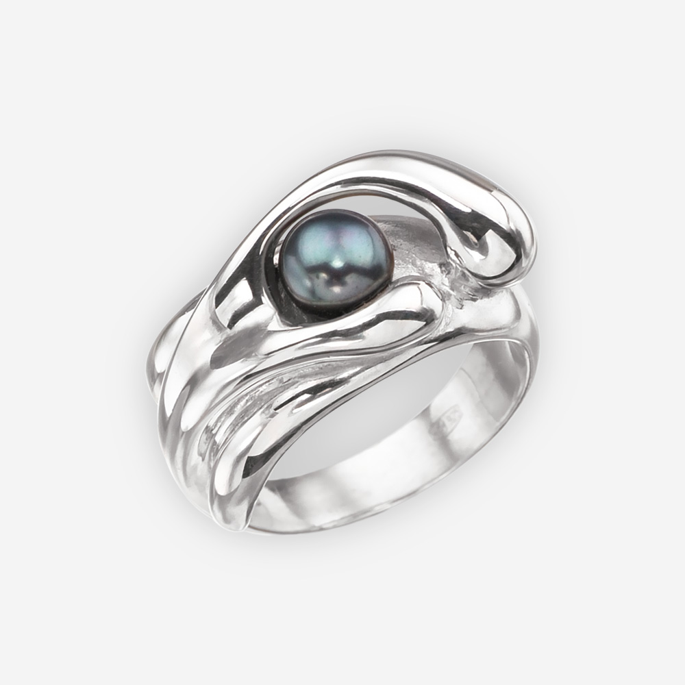 Abstract black pearl silver ring crafted in 925 sterling silver.