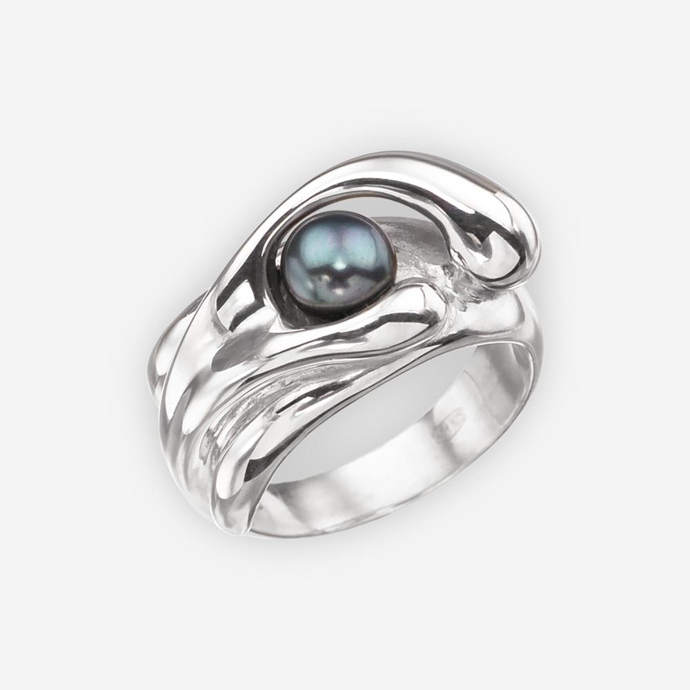 Anillo abstracto con perla negra hecha a mano en plata fina 925.