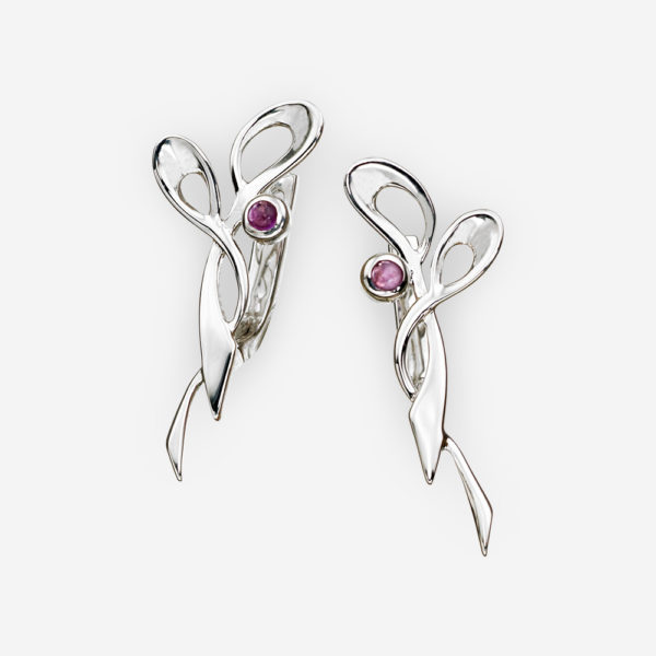 Abstract intertwining silver earrings with amethyst gems and latch back closures.