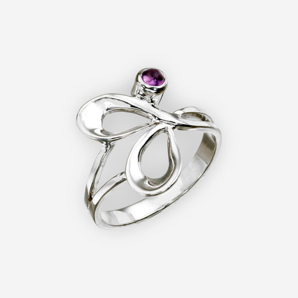 Abstract intertwining silver ring crafted from 925 sterling silver and set with an amethyst.