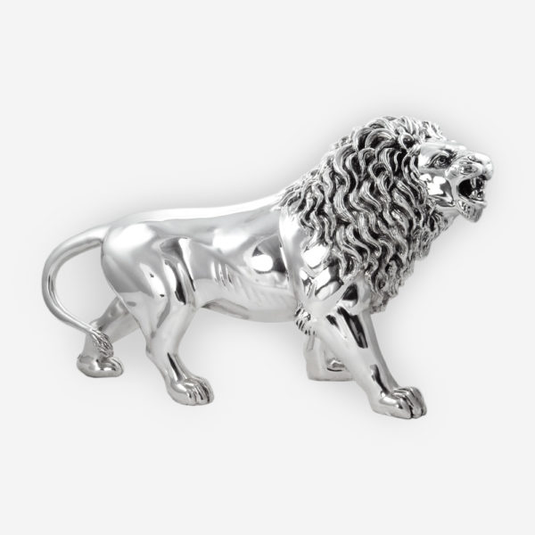 Aggressive Lion Silver Sculpture is crafted with electroforming techniques and dipped in silver .999