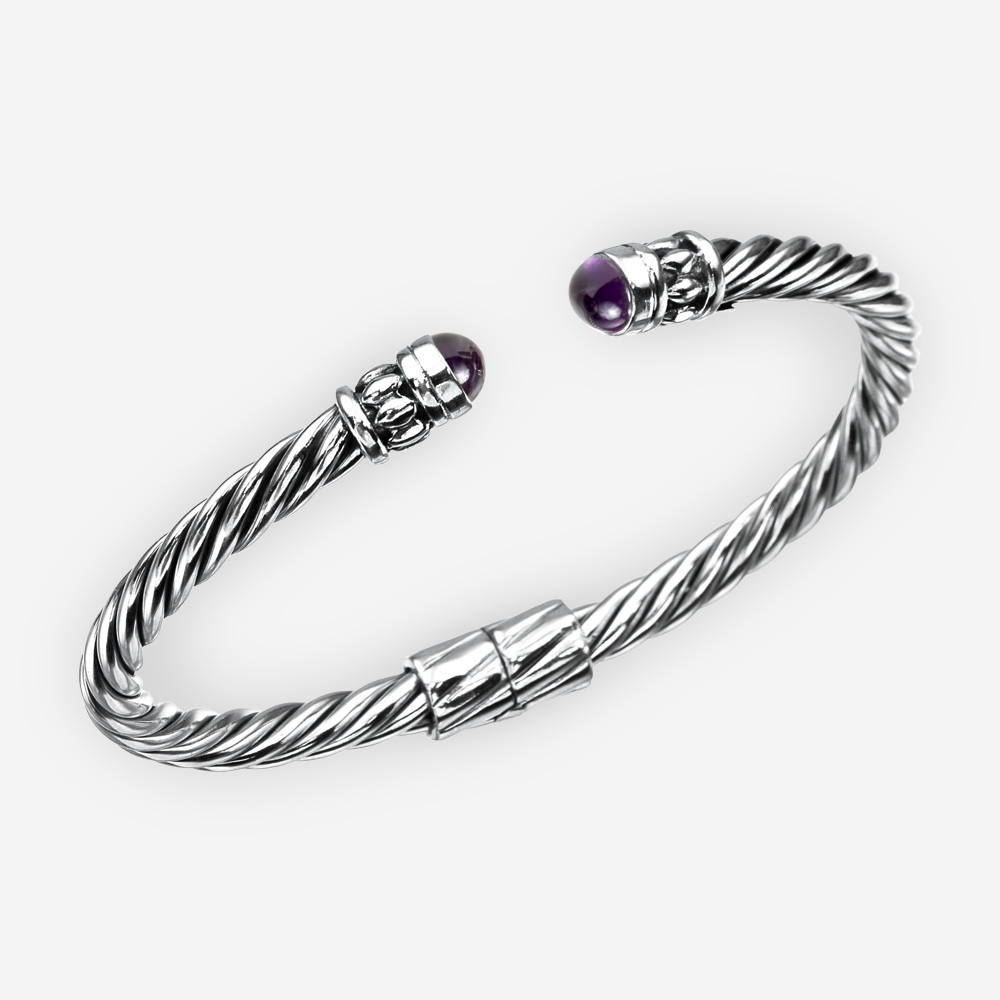 Amethyst silver cable bracelet with sterling silver twisted cable design and amethysts cabochons