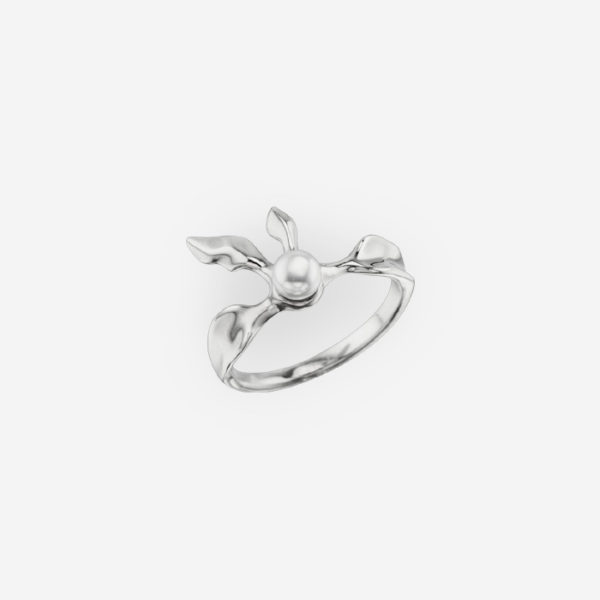 Floral Fantasy Ring Casting in Sterling Silver with Pearl