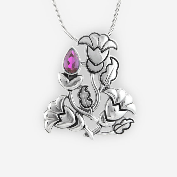Art Nouveau Pendant Casting in Sterling Silver, Carved in Floral Motifs and Setting with Faceted Cubic Zirconia.