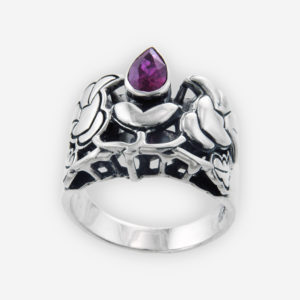 Art Nouveau Intricate Ring Cast in Sterling Silver, Carved in Floral Motifs and Setting with Faceted Cubic Zirconia.