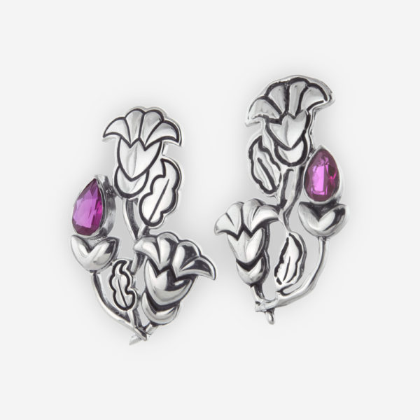 Art Nouveau Stud Earrings Casting in Sterling Silver Setting with Cubic Zirconias.