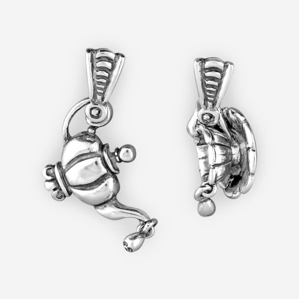 Asymmetrical sterling silver earrings with teapot and teacup dangling elements.