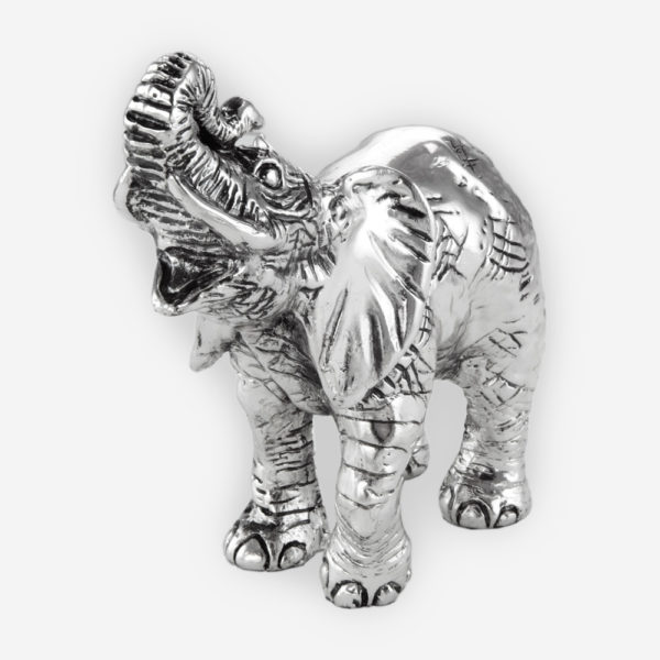 Baby Lucky Elephant Silver Sculpture is crafted with electroforming techniques and dipped in silver .999