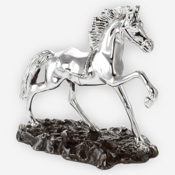 Rodeo Dancing Horse Silver Sculpture is crafted with electroforming techniques and dipped in silver .999