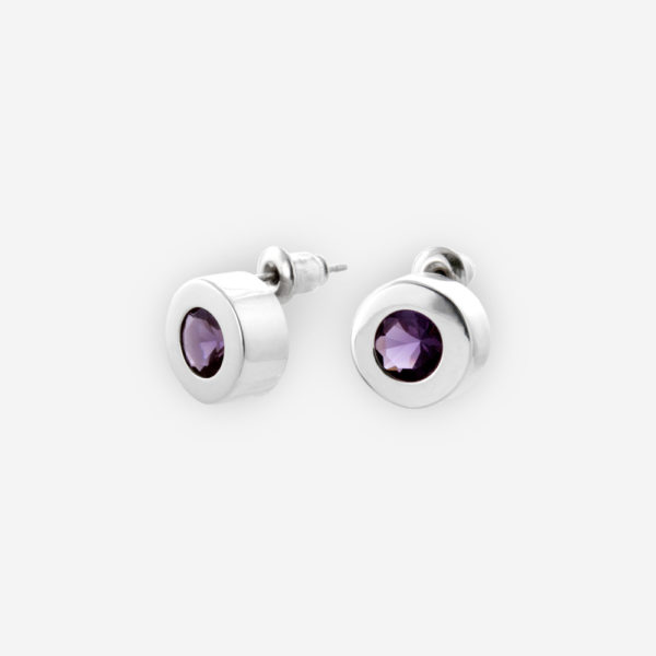 Bezel Set Stud Earrings with Round shape crafted in Sterling Silver