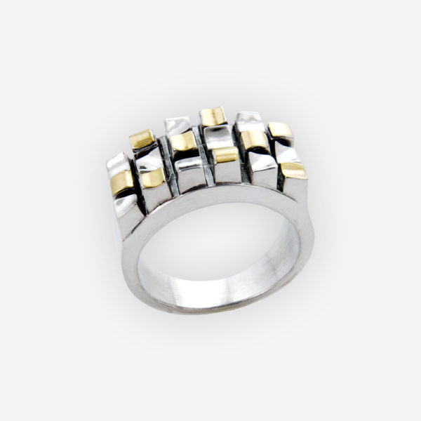 Bold two-tone silver statement ring with a grid design crafted in 925 sterling silver and 14k gold.