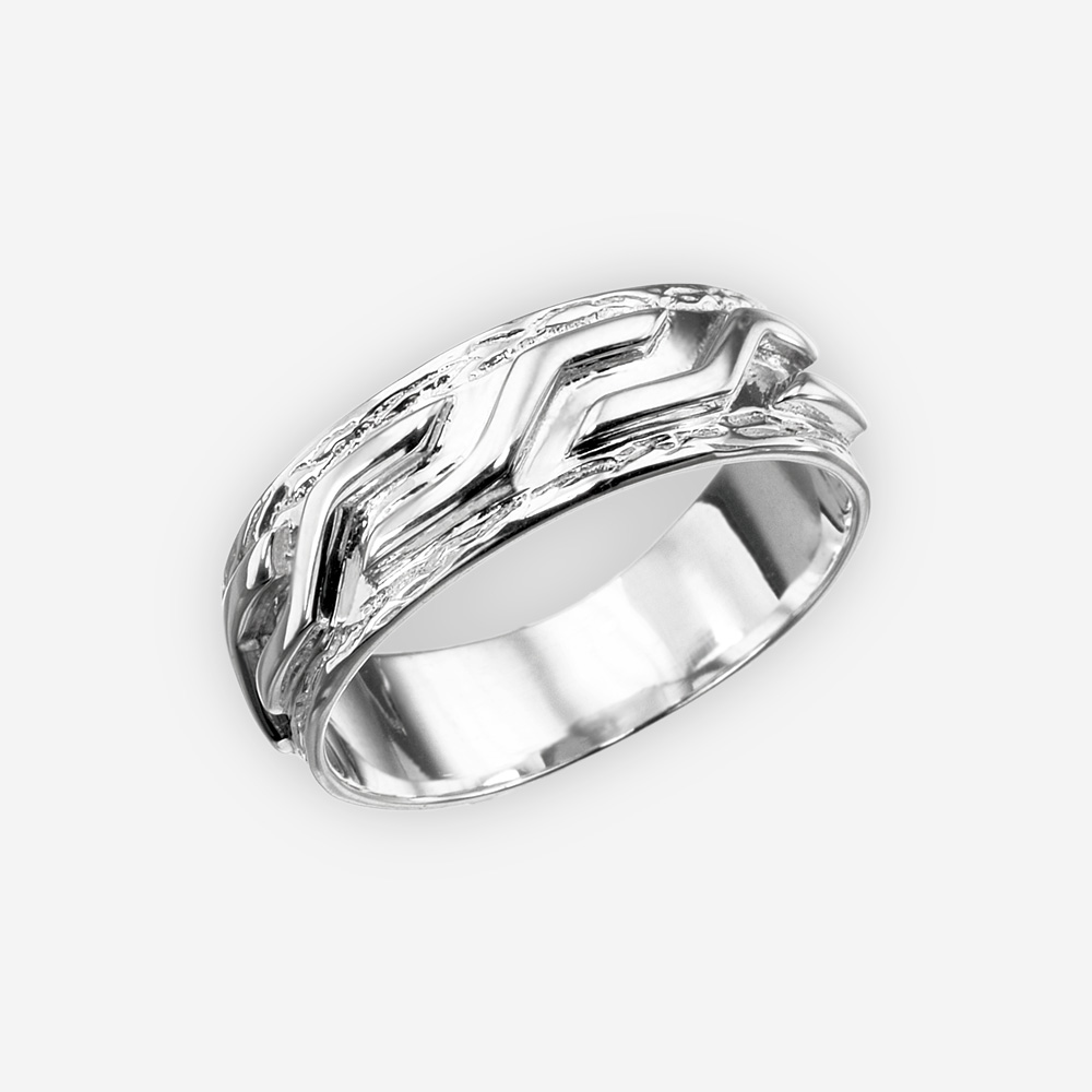 Bold unisex silver ring featuring sculpted design crafted from 925 sterling silver.