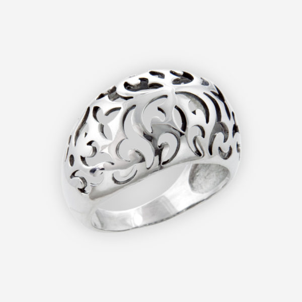 Broad Sterling Silver Ring Detailed with floral and leaves Filigree Patterns.