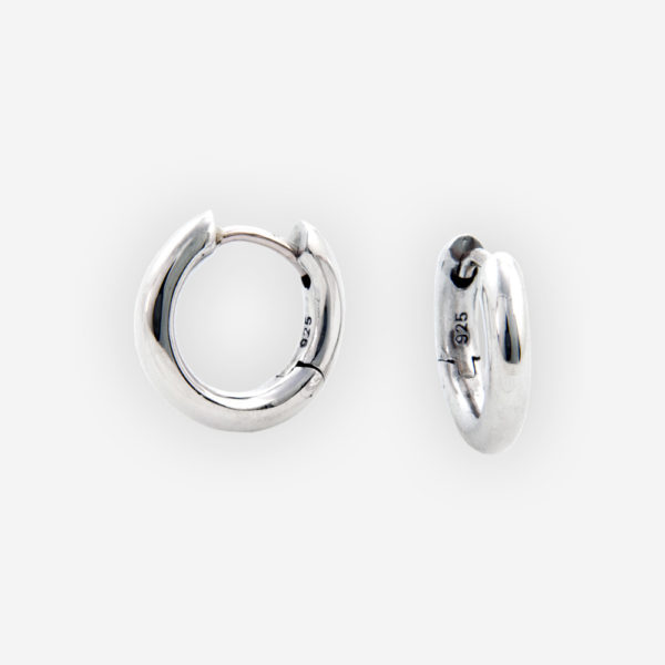 Classic small silver hoop earrings made from sterling silver and have a high polished finish.
