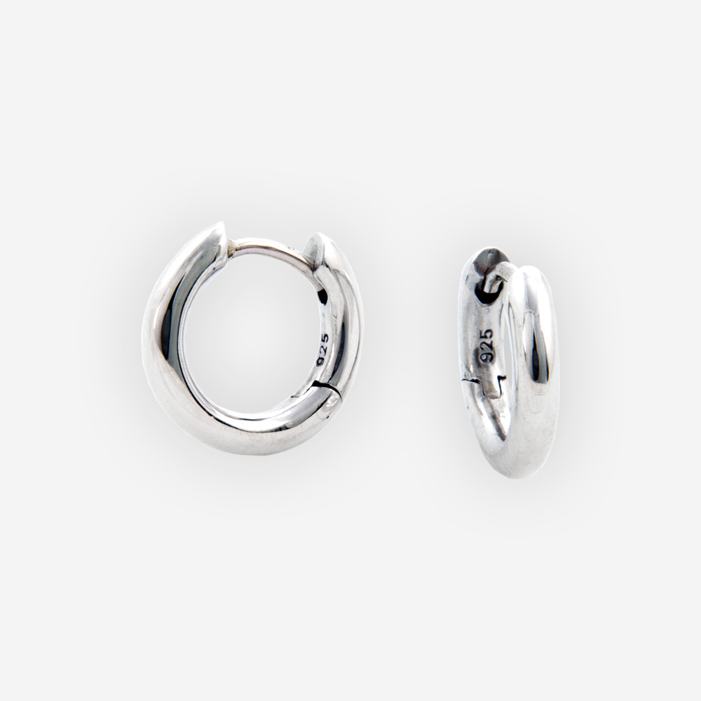 Clic Small Silver Hoop Earrings Made From Sterling And Have A High Polished Finish