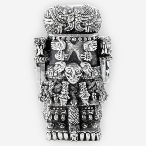 Aztec Goodess Coatlicue Silver Statue crafted with electroforming techniques and dipped in silver .999
