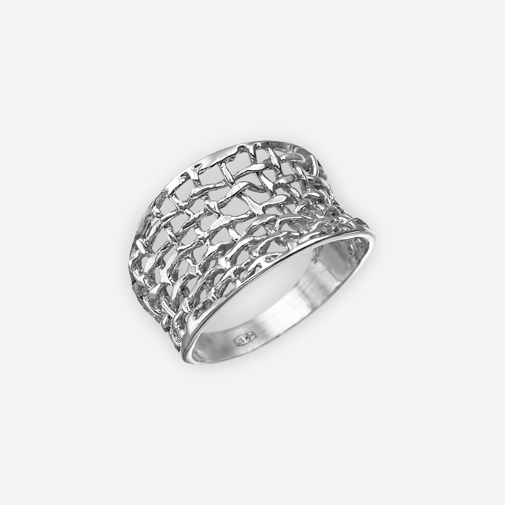 Concave woven silver ring with a modern woven rope design.
