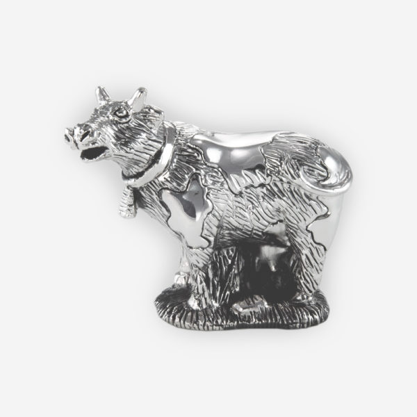 Cow Mini Silver Sculpture is crafted with electroforming techniques and dipped in silver .999