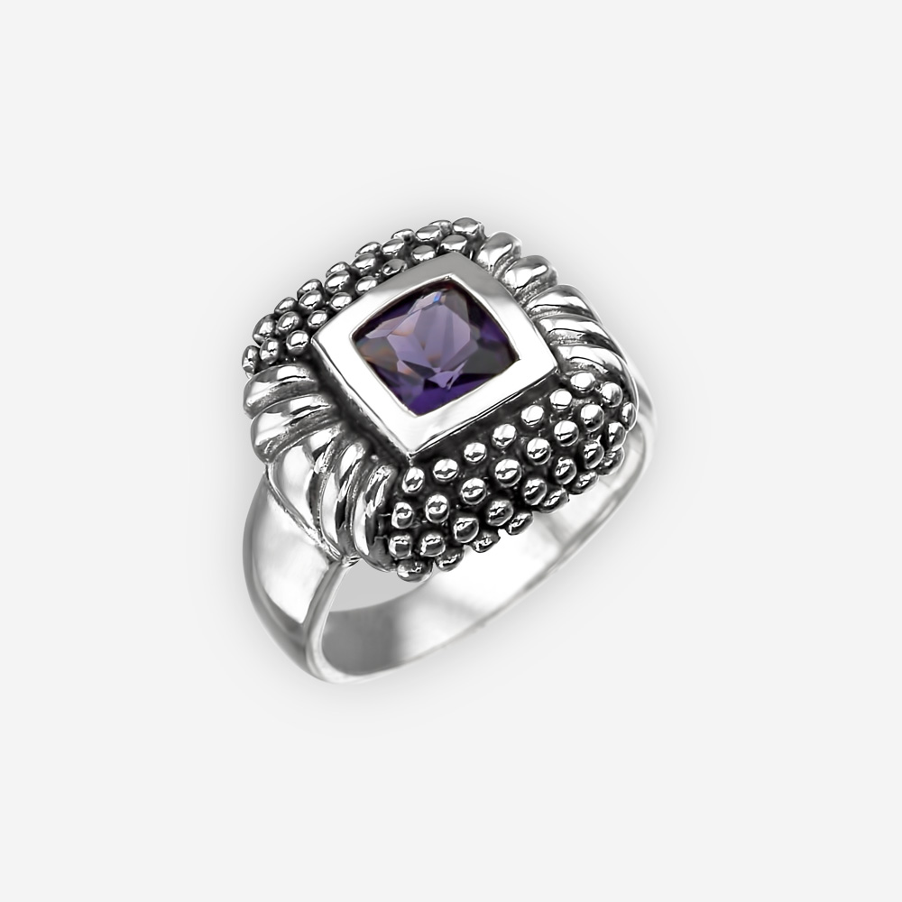 Cubic Zirconia sterling silver cocktail ring with silver dot details