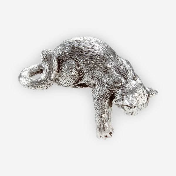 Curious kitten silver sculpture is crafted with electroforming techniques and dipped in sterling silver.