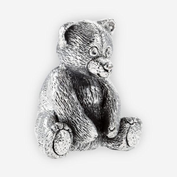 Escultura de Plata de Osito de Felpa hecha mediante proceso de electroformado