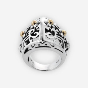 Double Sphere Ring with Baroque design crafted in Sterling Silver with little flowers and 14k Gold Dots.
