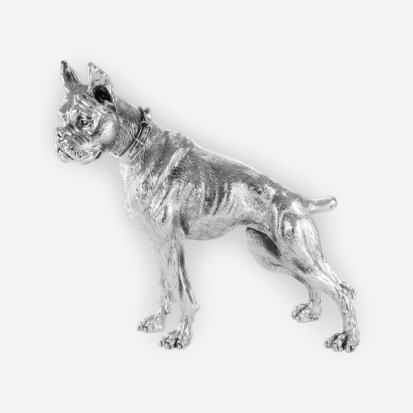 German Boxer Dog Silver Sculpture is crafted with electroforming techniques and dipped in silver .999