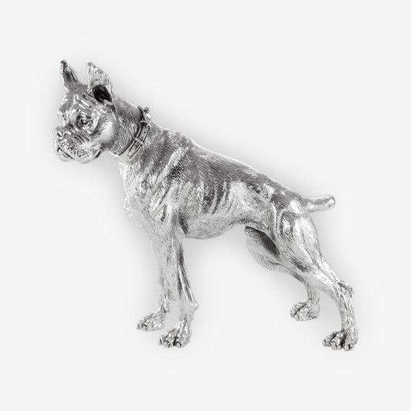 Escultura en Plata de un Perro Boxer Aléman hecha mediante proceso de electroformado.
