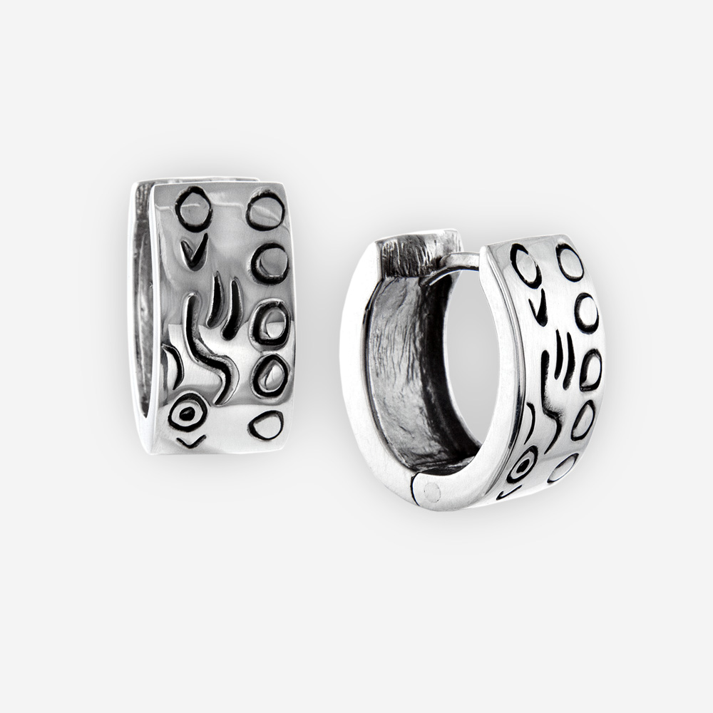 Eccentric engraved huggie hoop earrings are crafted in 925 sterling silver with an oxidized abstract design.