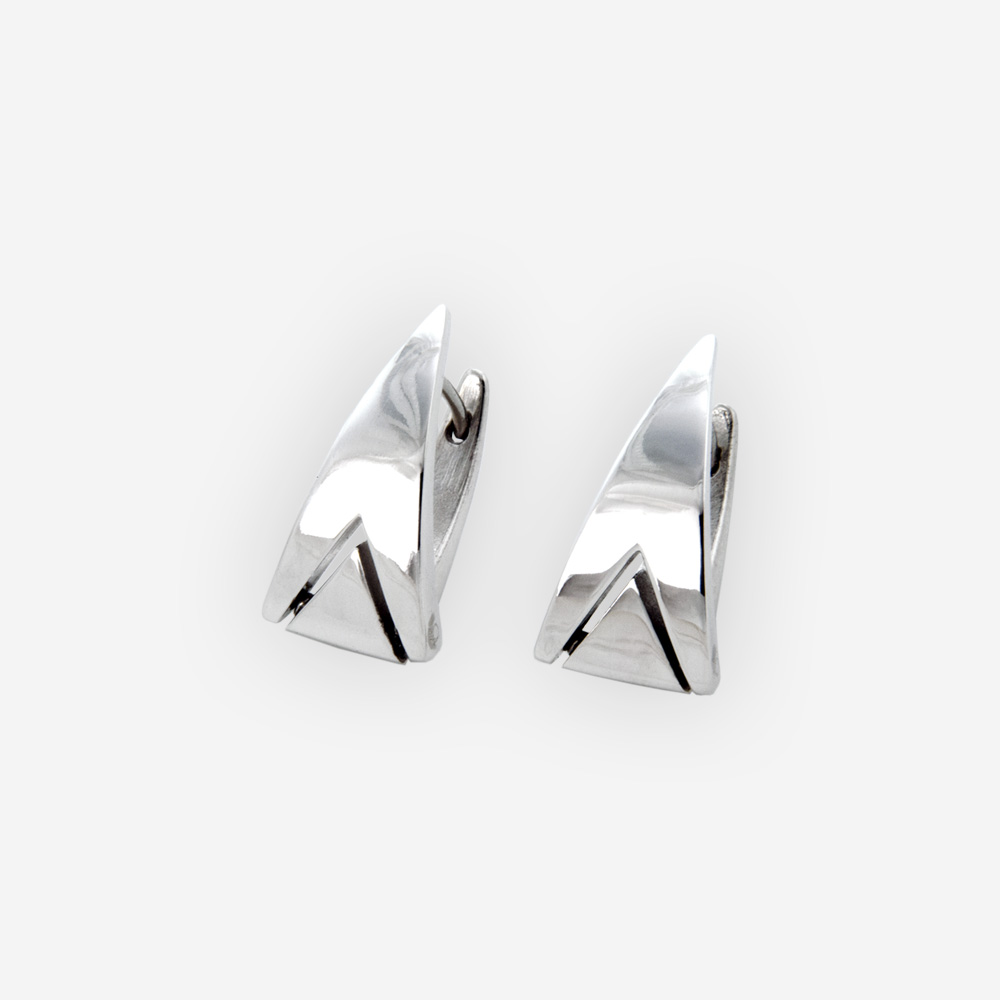 Edgy geometric silver huggie earrings with modern triangular detailing and made from 925 sterling silver.