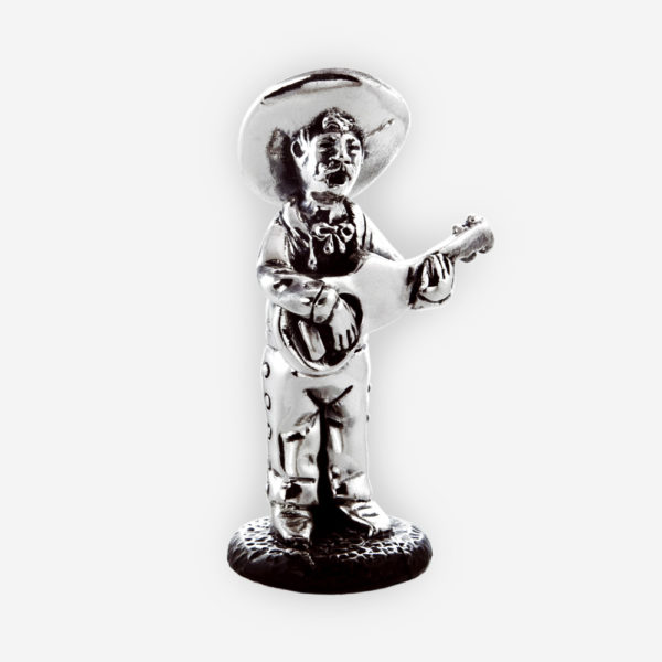 Electroformed guitarist silver sculpture