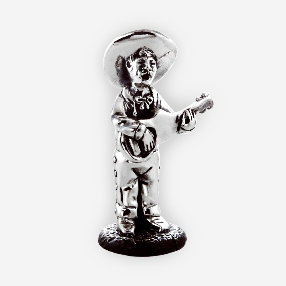 Electroformed guitarist silver sculpture
