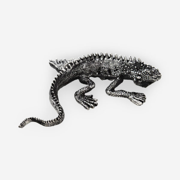 Electroformed iguana silver sculpture with an oxidized finish