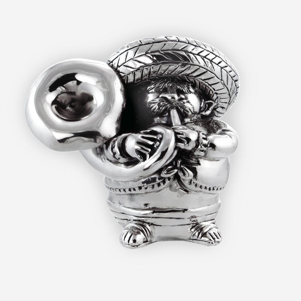 Electroformed Mexican musician silver sculpture