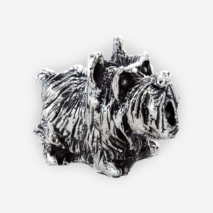 Electroformed Scottie dog silver sculpture with an oxidized finish