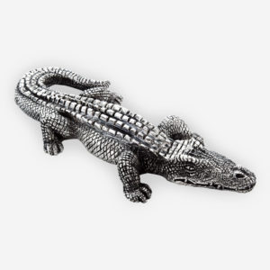 Electroformed silver alligator sculpture with a silver plated oxidized finish