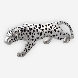 Electroformed silver leopard sculpture with polished finish and oxidized spots.