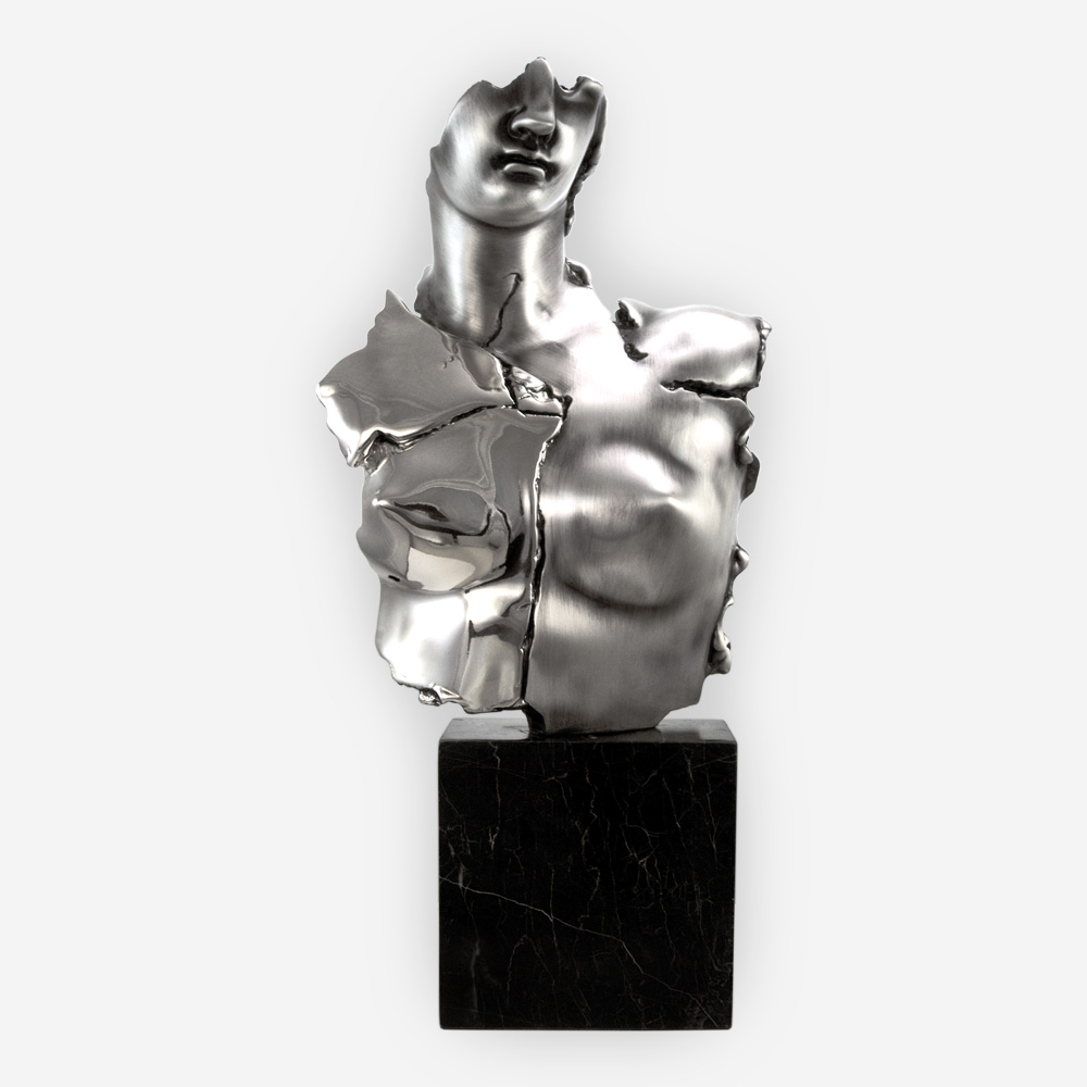 Modern and Futuristic Aphrodite Goddess Silver Sculpture crafted with electroforming techniques and dipped in silver .999