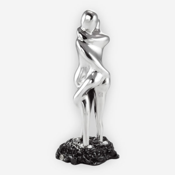 Erotic Couple Abstract Silver Sculpture, crafted with electroforming techniques and dipped in silver .999