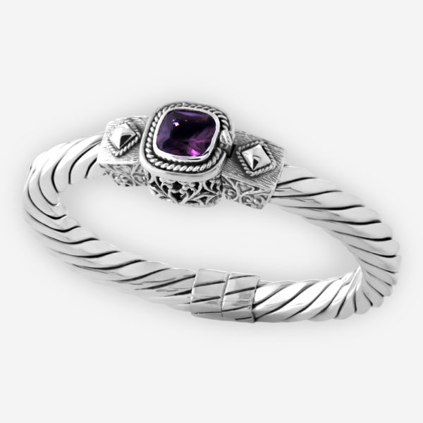 Exotic design silver CZ cable bracelet crafted from 925 sterling silver with a faceted gemstone in the center.