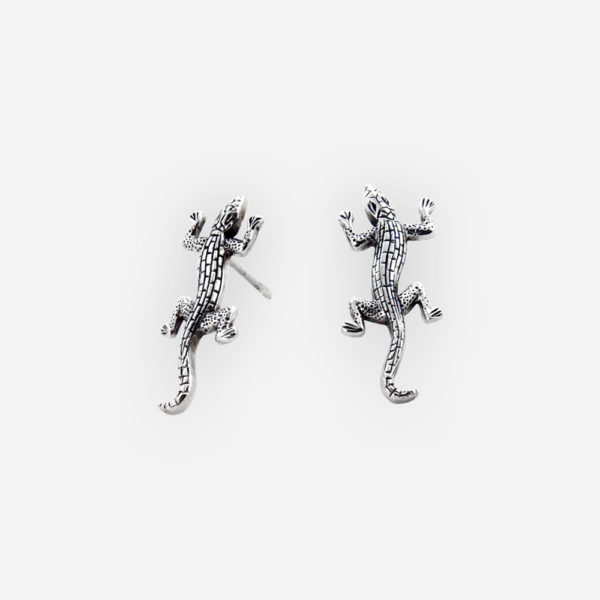 Exotic lizard oxidized silver post earrings featuring oxidized lizard deatils and crafted from 925 sterling silver.