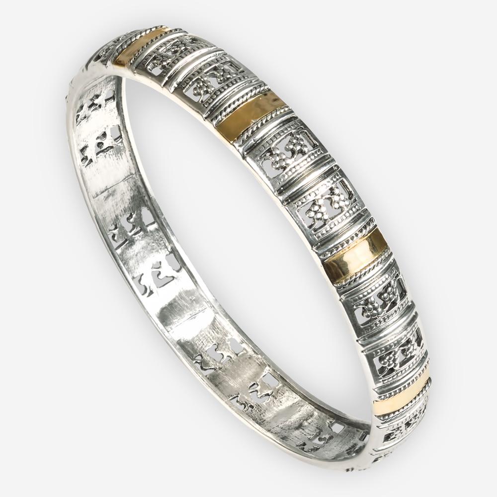 Brazalete de plata exótico de vid de uva hecho a mano de plata fina 925 y el oro de 14k.