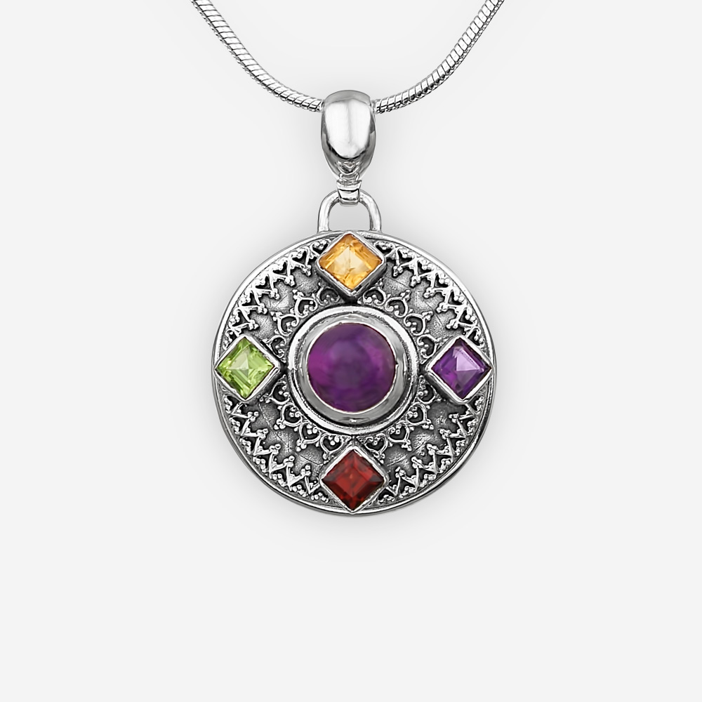 Exotic sterling silver gemstone medallion pendant crafted from oxidized sterling silver and multiple faceted gemstones.