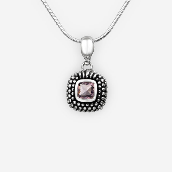 Faceted cubic zirconia silver pendant with silver dots