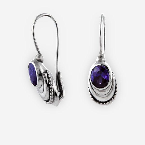Faceted gemstone silver drop earrings is crafted in 925 sterling silver with faceted gemstone drops.