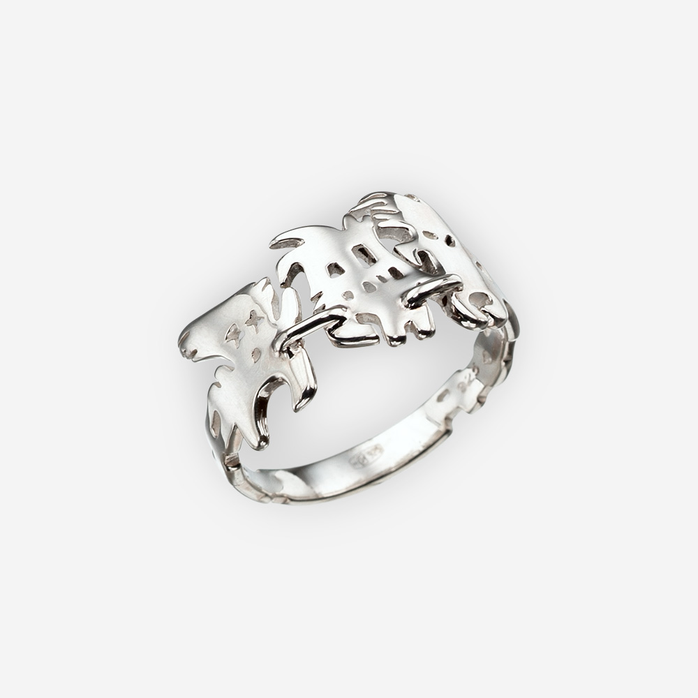 Fantasy Sterling Silver Ghost Ring with a high polished finish.