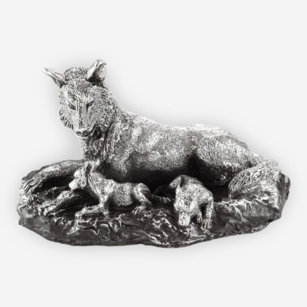 Alpha Female Wolf and Her Pups Silver Sculpture crafted with electroforming techniques and dipped in silver .999