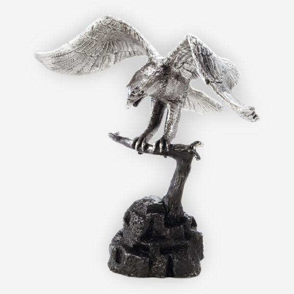 Harpy Eagle Silver Sculpture is crafted with electroforming techniques and dipped in silver .999