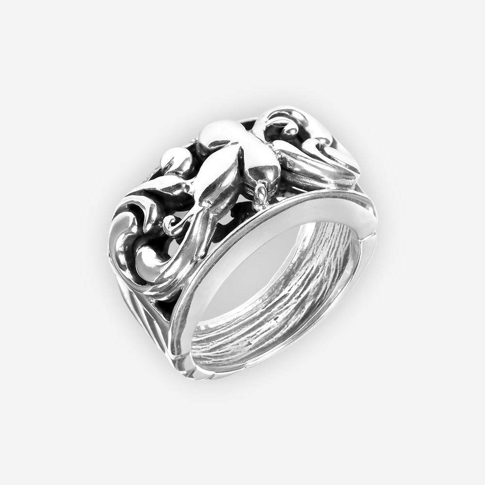 Floral filigree silver ring with sculpted leaf crafted in 925 sterling silver.
